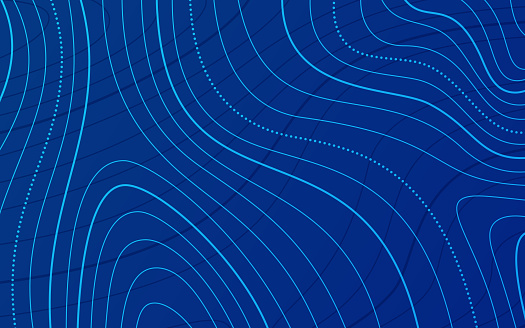 Blue Topographic Lines Background