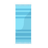 blue towel with striped pattern beach icon image vector illustration design