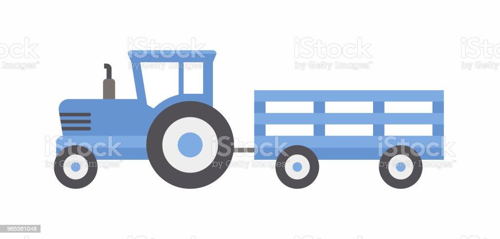Blue tractor with trailer blue tractor with trailer - stockowe grafiki wektorowe i więcej obrazów ciężarówka royalty-free