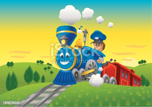Cartoon Blue Train with Engineer, Chugging through the Countryside. Art in editable layers. Background can easily be separated. For more People & Professionals see my Lightbox: