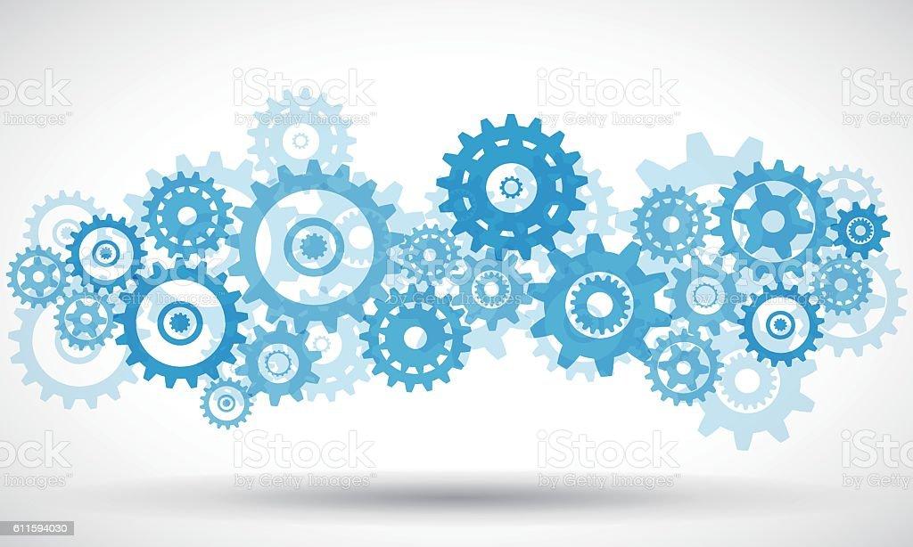Blue transparent gears vector art illustration