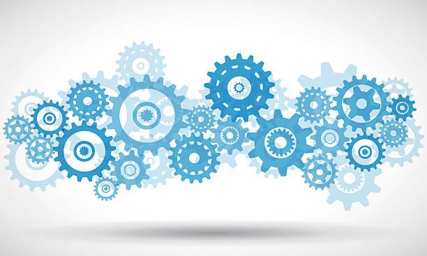 blue transparent gears - maschinenteil ausrüstung und geräte stock-grafiken, -clipart, -cartoons und -symbole