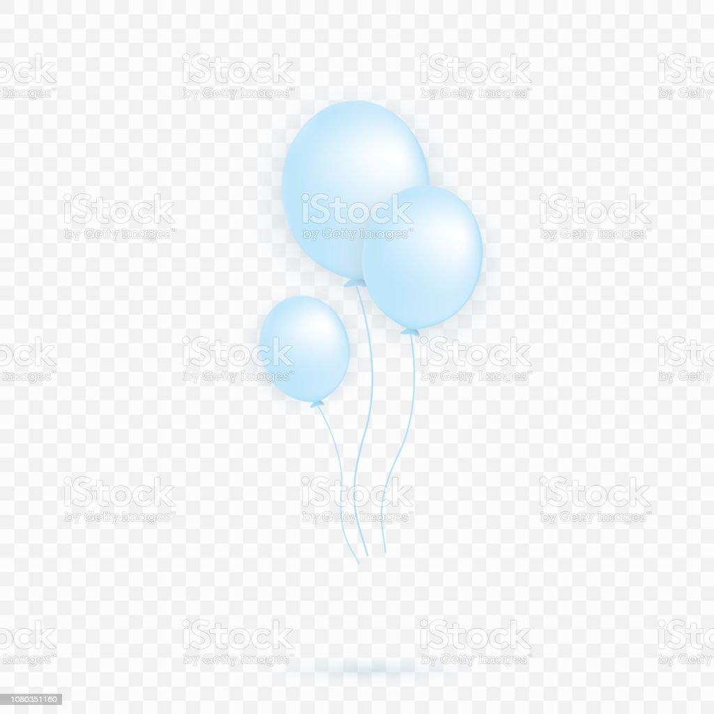 Blauw Transparant Met Confetti Helium Ballon Geisoleerd In