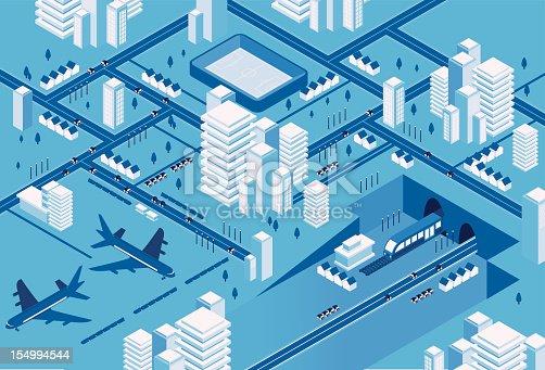 istock Blue transport city 154994544