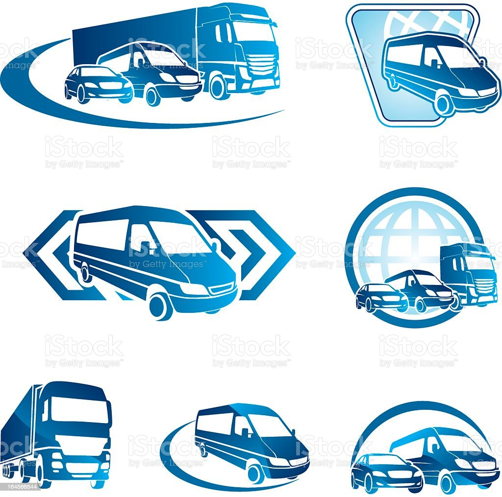 Blue transportation icons on a white background vector art illustration