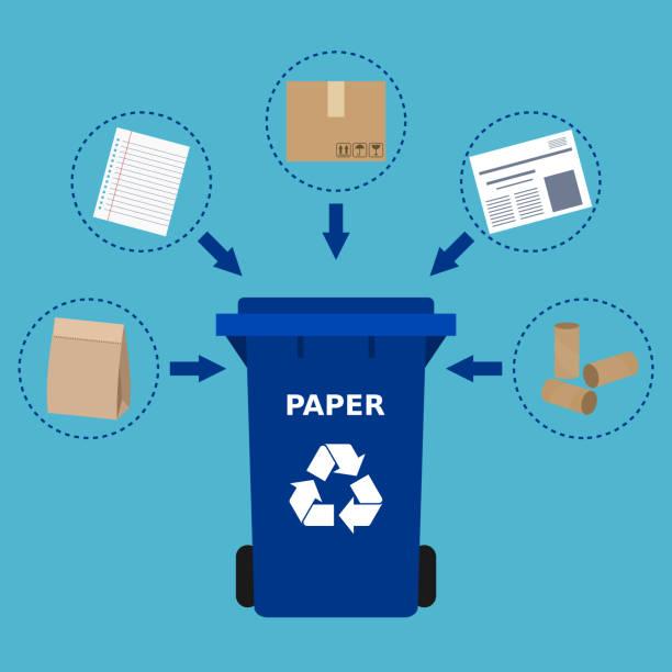 ilustrações de stock, clip art, desenhos animados e ícones de blue trash can and paper waste suitable for recycling. - box separate life
