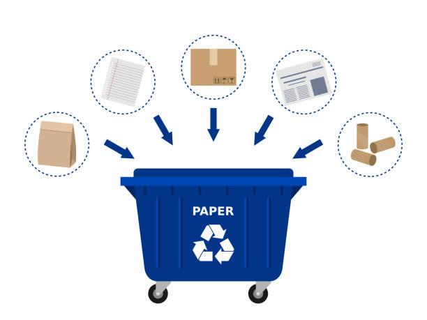 ilustrações de stock, clip art, desenhos animados e ícones de blue trash dumpster and paper waste suitable for recycling. - box separate life