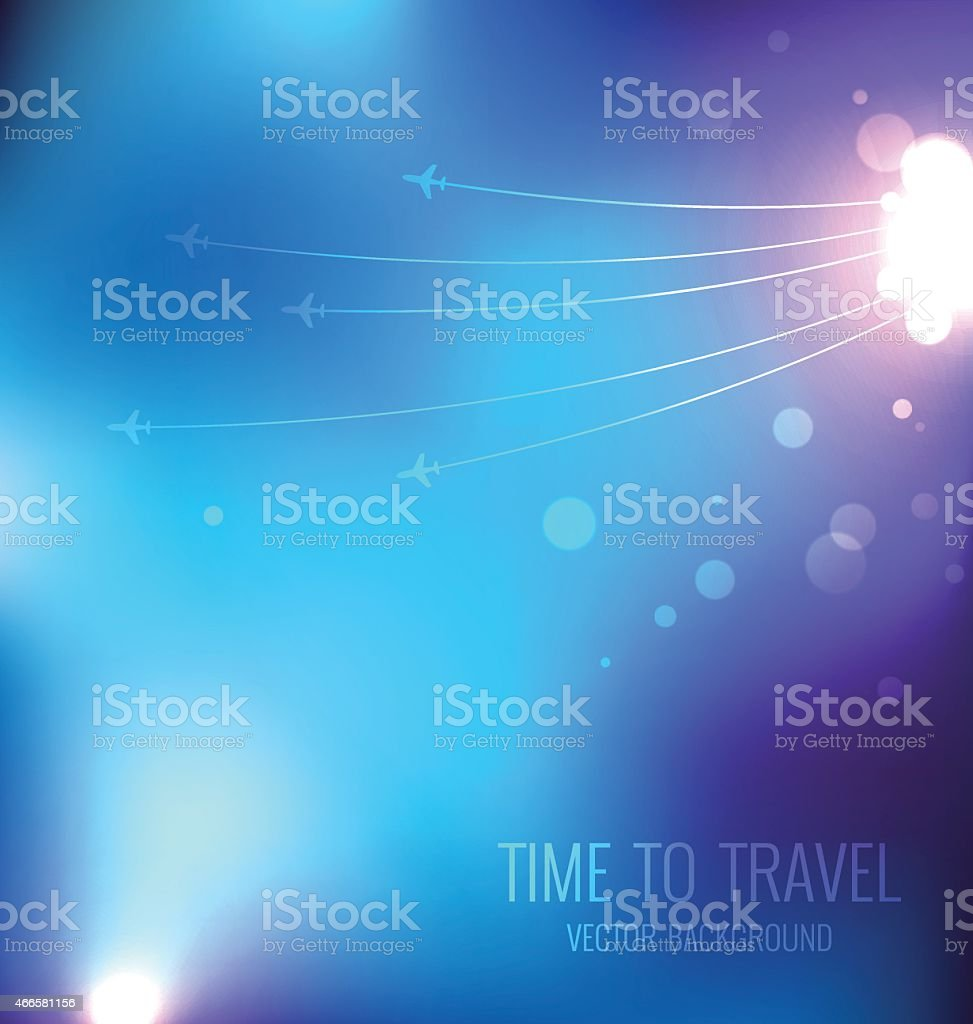 Blue travel background with airplanes vector art illustration