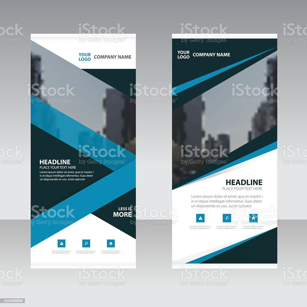 Blue triangle Business Roll Up Banner flat design template ,Abstract vector art illustration