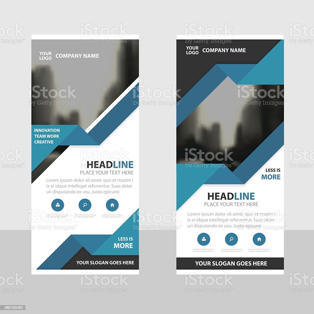 blue triangle business roll up banner flat design template abstract