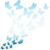 Blue triangle butterflies swirl. Flying butterfly pattern.