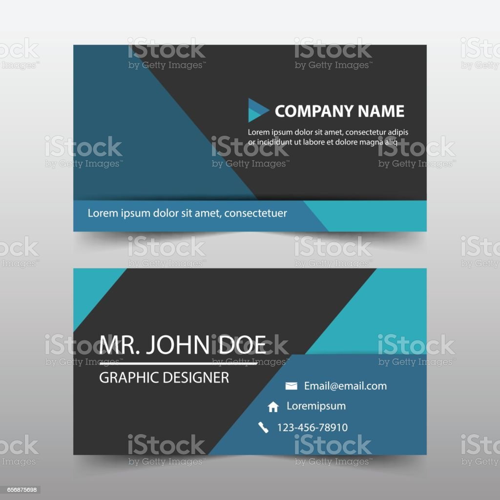 Blue triangle corporate business card name card template horizontal blue triangle corporate business card name card template horizontal simple royalty free blue reheart Choice Image