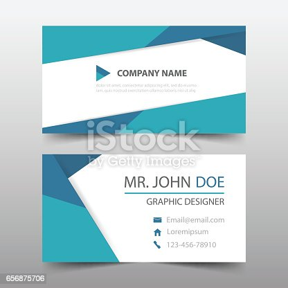 Blue Triangle Corporate Business Card Name Card Template Horizontal