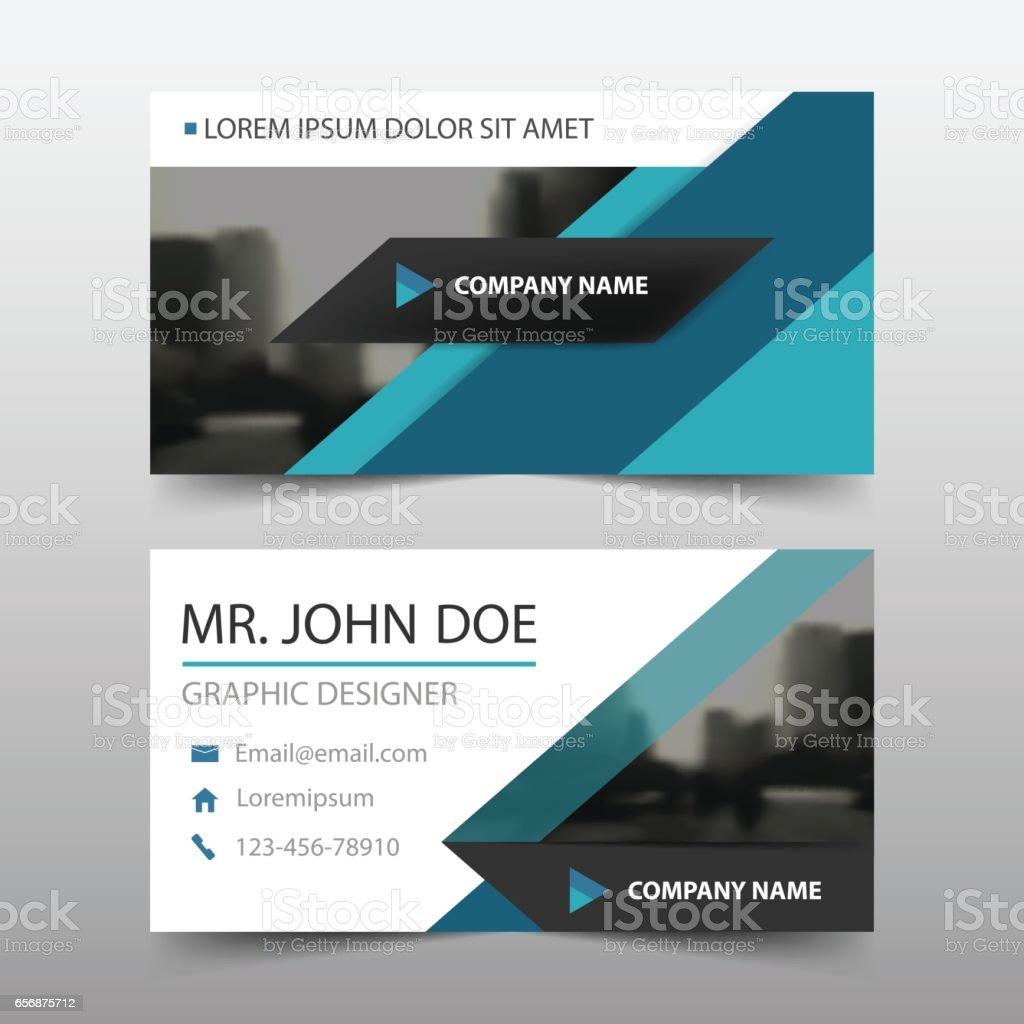 blue triangle corporate business card name card template horizontal