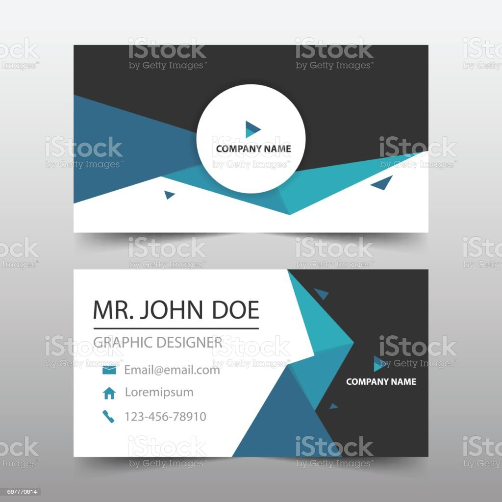 Blue Triangle Corporate Business Card, Name Card Template ,horizontal  Simple Royalty Free Stock