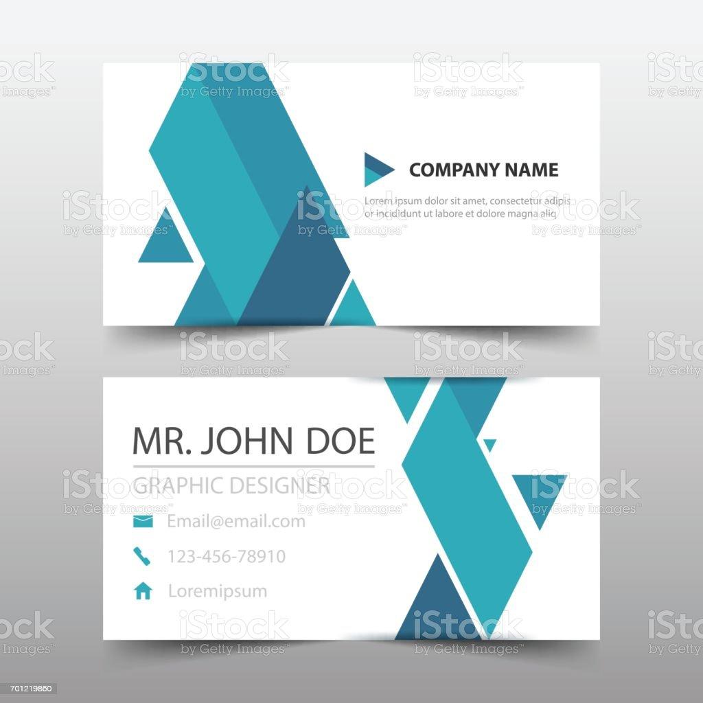 Blue Triangle Corporate Business Card Name Card Template Horizontal ...