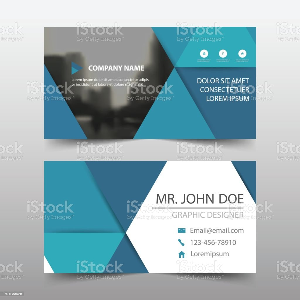 Triangle Bleu Carte De Visite Entreprise Nom Modle Horizontal Simple