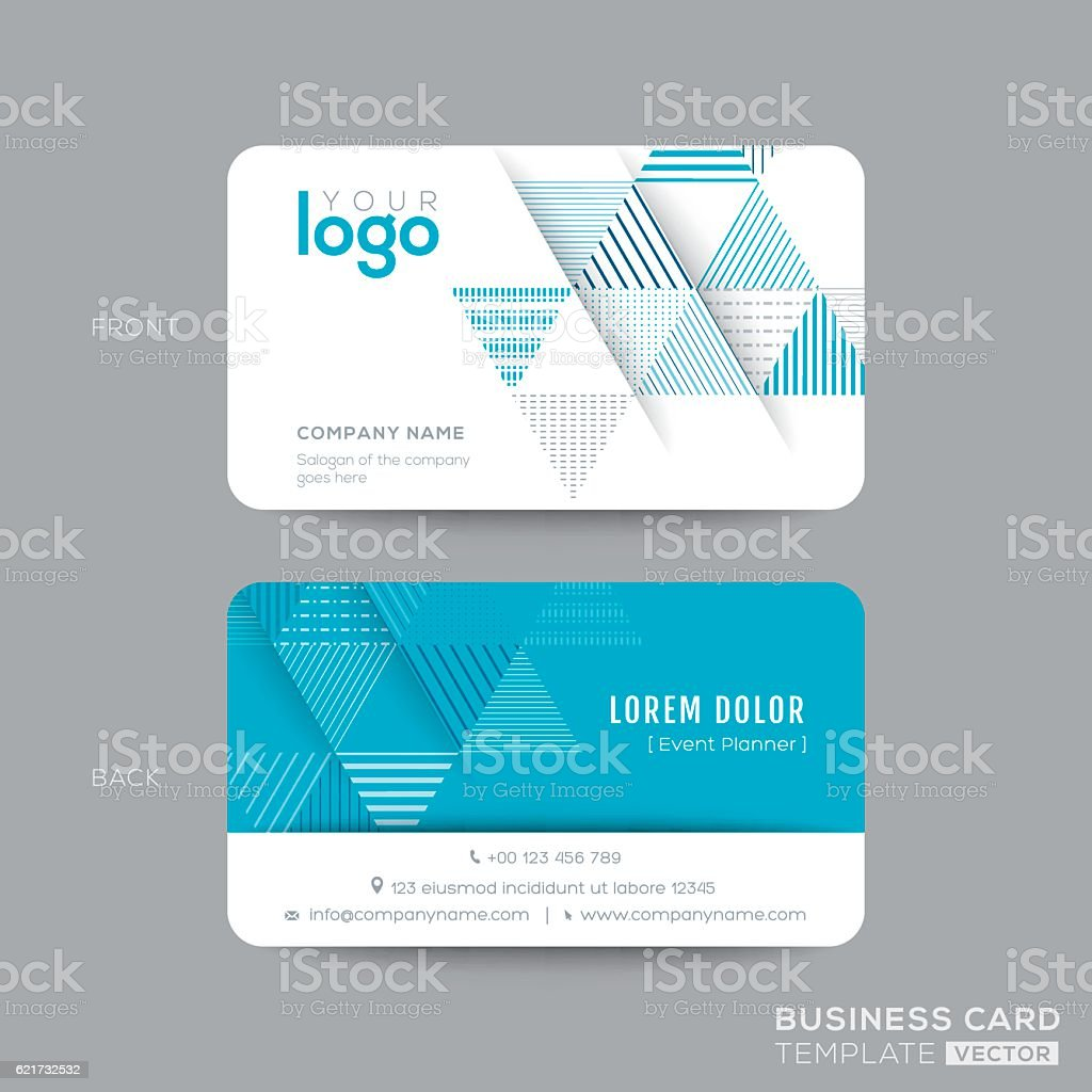 blue triangle modern business card design のイラスト素材 621732532
