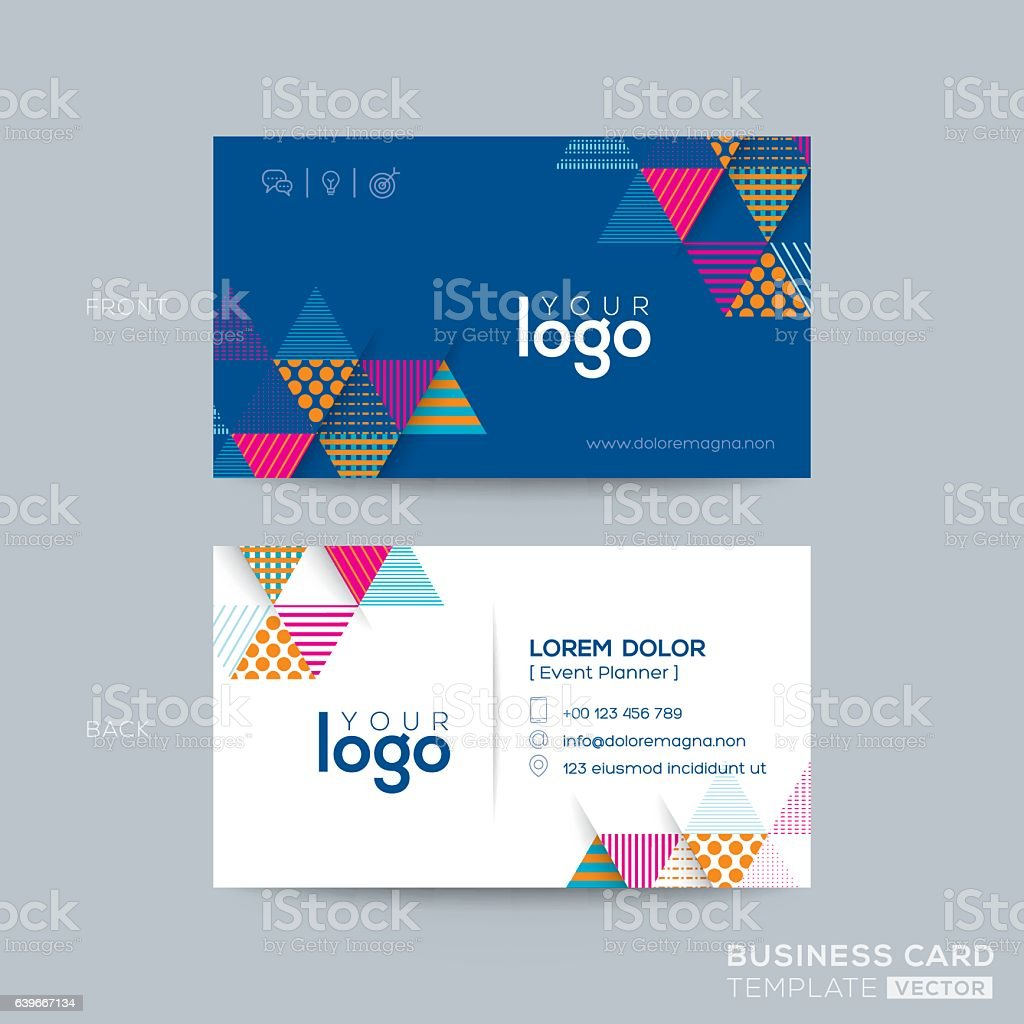 Blue Triangle Modern Business Card Design Stock Vector Art & More ...