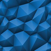 Blue triangle seamless low-poly background.