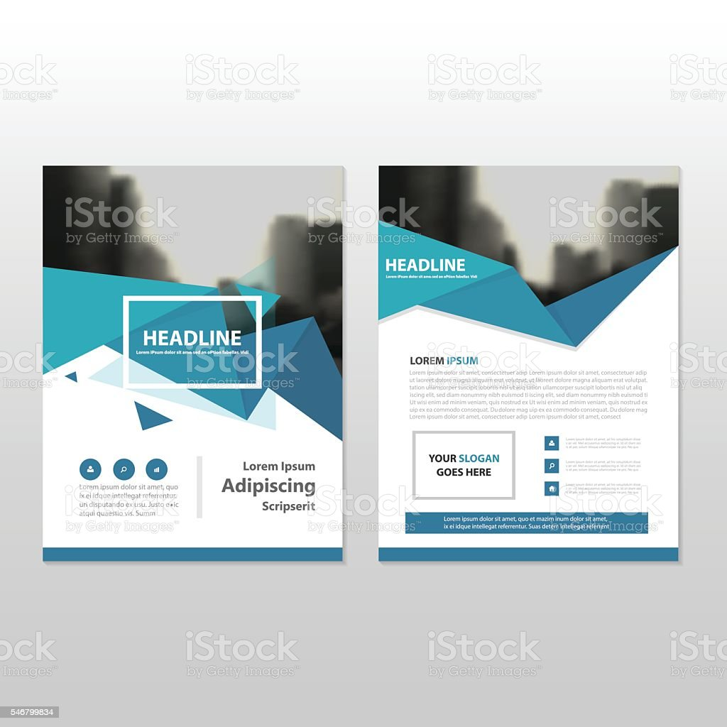 blue triangle triangle annual report leaflet brochure flyer template