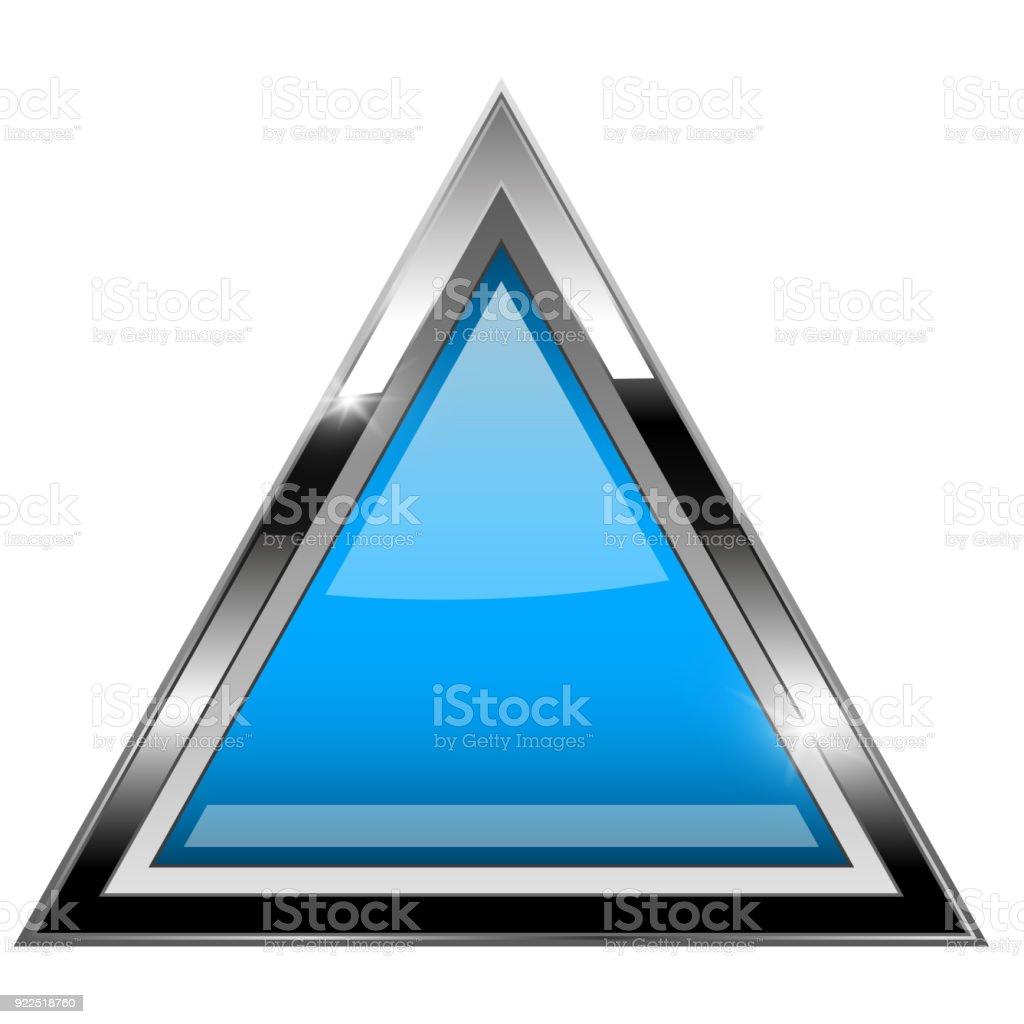 Ilustración de Triángulo Azul Con Marco Cromado Audaz 3d Icono ...