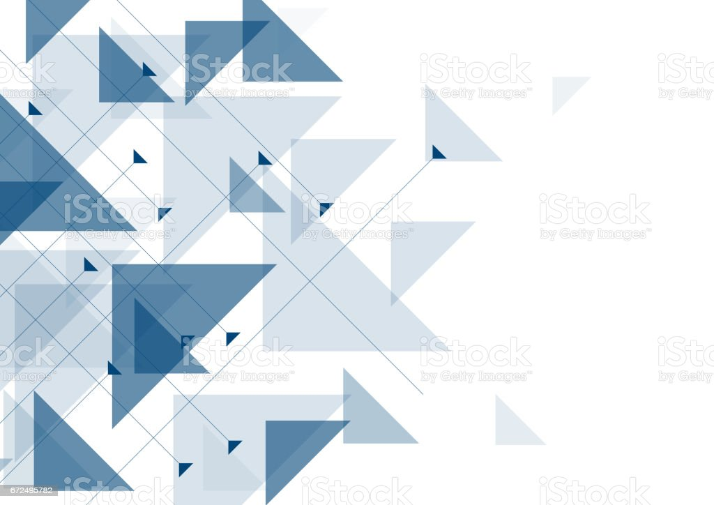 Blue triangles abstract geometric design vector art illustration