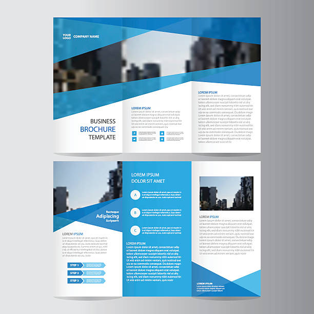 blue trifold annual report leaflet brochure flyer template design set vector art illustration