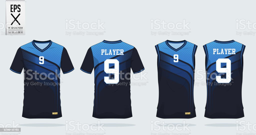 Blue t-shirt sport design template for soccer jersey, football kit and tank top for basketball jersey. Sport uniform in front and back view. Tshirt mock up for sport club. Vector. vector art illustration