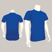 Blue T-Shirt Template - Vector Illustration