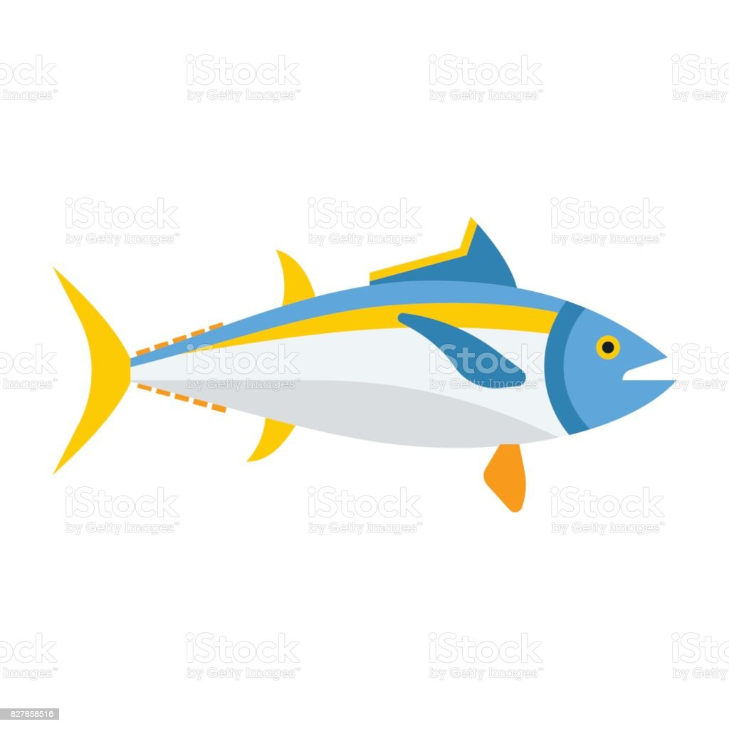 Blue Tuna Fish Icon vector art illustration