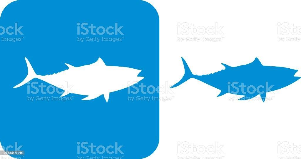 Iconos de atún azul - ilustración de arte vectorial