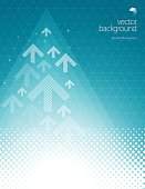 Vector of white direction arrow pattern and glowing lights abstract theme with blue turquoise color background. This illustration is an EPS 10 file and contains transparency effects.