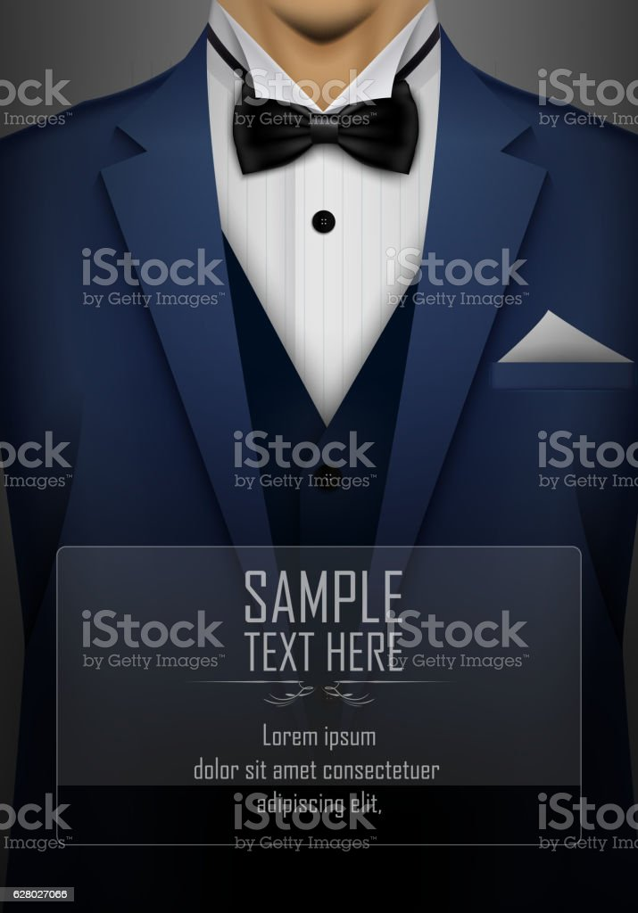 Blue tuxedo with black bow tie