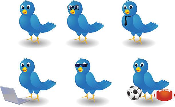 blue twitter birds - twitter 幅插畫檔、美工圖案、卡通及圖標