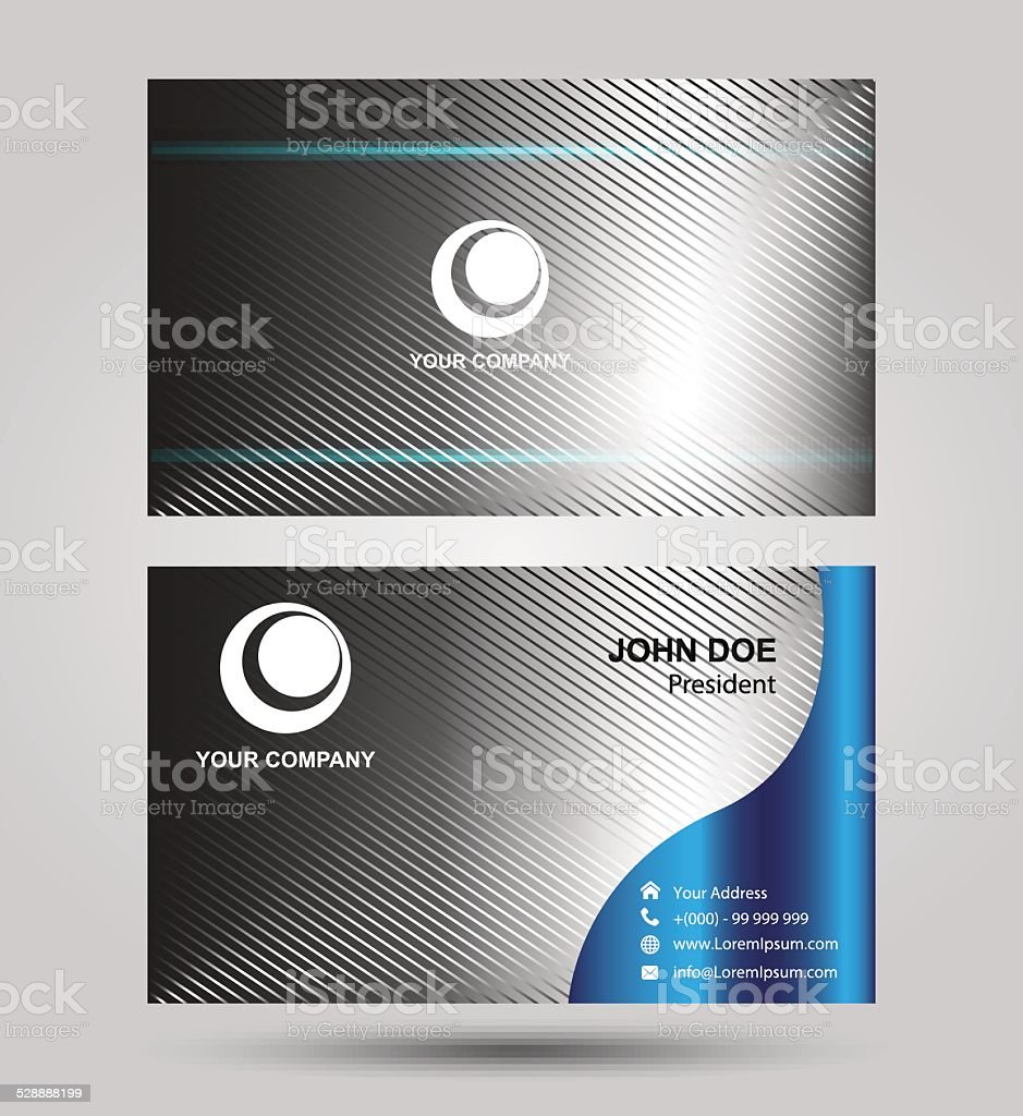 Blue two sided business card