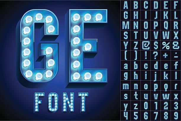 illustrazioni stock, clip art, cartoni animati e icone di tendenza di blu massimo realistico lampada bordo alfabeto - christmas movie
