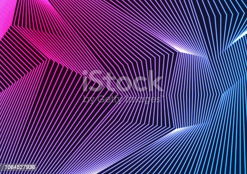 Blue ultraviolet neon curved lines abstract background. Vector retro tech design
