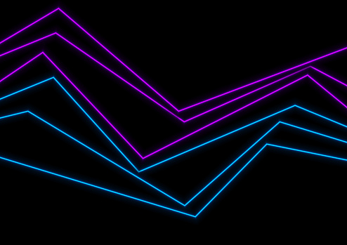 Blue ultraviolet neon curved lines abstract background