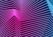 Blue ultraviolet neon curved lines refraction background