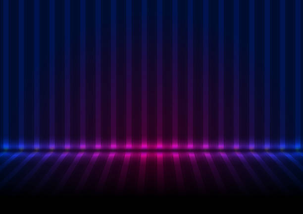 Blue ultraviolet neon glowing striped wall and floor abstract background vector art illustration