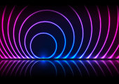 Blue and ultraviolet neon laser circles with reflection. Abstract technology retro background. Futuristic glowing vector design.