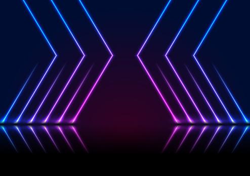 Blue ultraviolet neon laser lines technology modern background
