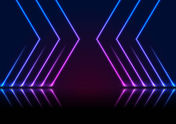 Blue ultraviolet neon laser lines technology modern background vector art illustration