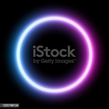 istock Blue - ultraviolet neon round frame 1320766134