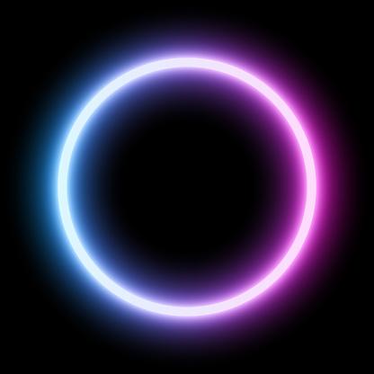 Blue - ultraviolet neon round frame