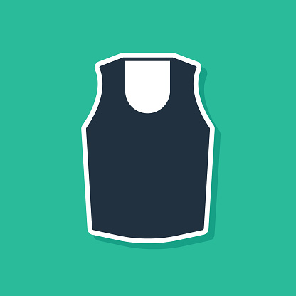 Blue Undershirt icon isolated on green background. Vector