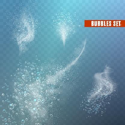 Blue underwater fizzing air bubbles flow on transparent background.