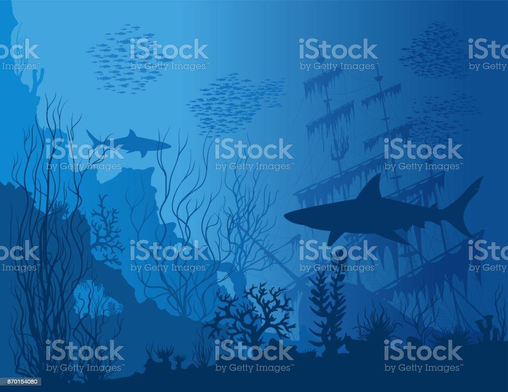 Blaue Unterwasserlandschaft – Vektorgrafik