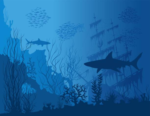 stockillustraties, clipart, cartoons en iconen met blauwe onderwater landschap - depth vector